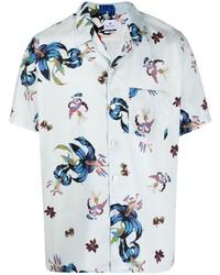 hellblaues Kurzarmhemd mit Blumenmuster von Paul Smith