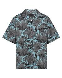 hellblaues Kurzarmhemd mit Blumenmuster von Prada