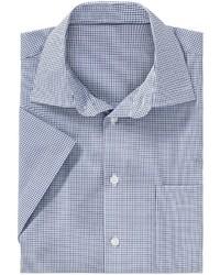 hellblaues Kurzarmhemd mit Karomuster von Classic