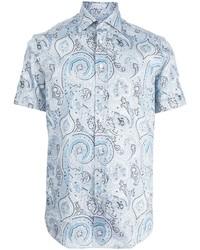 hellblaues Kurzarmhemd mit Paisley-Muster von Etro