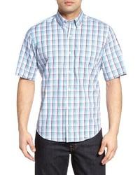 hellblaues Kurzarmhemd mit Schottenmuster