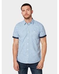 hellblaues Kurzarmhemd mit Vichy-Muster von Tom Tailor