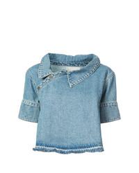 hellblaues kurzes Oberteil aus Jeans von Monse