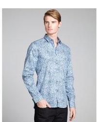 hellblaues Langarmhemd mit Blumenmuster