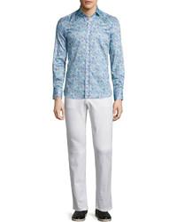 hellblaues Langarmhemd mit Paisley-Muster