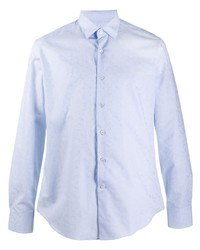 hellblaues Langarmhemd mit Paisley-Muster von Salvatore Ferragamo