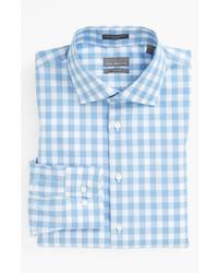 hellblaues Langarmhemd mit Vichy-Muster