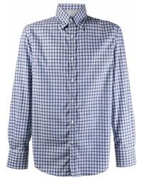hellblaues Langarmhemd mit Vichy-Muster von Brunello Cucinelli