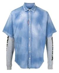 hellblaues Langarmhemd von DSQUARED2