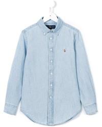 hellblaues Langarmhemd von Ralph Lauren