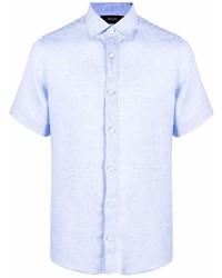 hellblaues Leinen Kurzarmhemd von Ermenegildo Zegna
