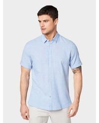 hellblaues Leinen Kurzarmhemd von Tom Tailor
