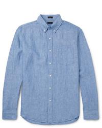 hellblaues Leinen Langarmhemd von J.Crew