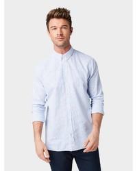 hellblaues Leinen Langarmhemd von Tom Tailor