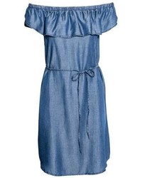 hellblaues Schulterfreies Kleid aus Jeans