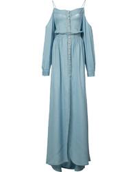 hellblaues schulterfreies Kleid von Balmain