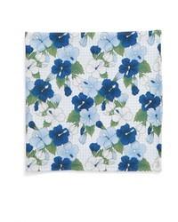 hellblaues Seide Einstecktuch mit Blumenmuster