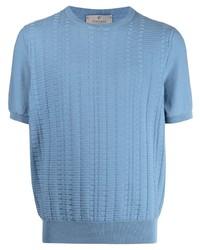 hellblaues Strick T-Shirt mit einem Rundhalsausschnitt von Canali