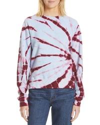 hellblaues Sweatshirt mit Batikmuster