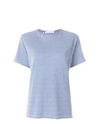 b4c56da7229a01 ... hellblaues T-Shirt mit einem Rundhalsausschnitt mit Hahnentritt-Muster  von Golden Goose Deluxe Brand