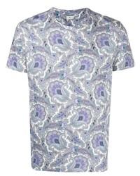 hellblaues T-Shirt mit einem Rundhalsausschnitt mit Paisley-Muster von Etro