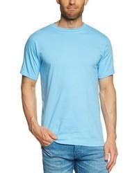 hellblaues T-Shirt mit einem Rundhalsausschnitt von Anvil