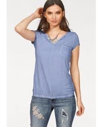 658ef63f235d Modische hellblaues T-Shirt mit einem V-Ausschnitt für Damen für ...