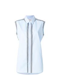 hellblaues vertikal gestreiftes ärmelloses Hemd von Maison Margiela
