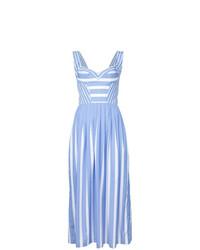 hellblaues vertikal gestreiftes ausgestelltes Kleid von Ermanno Scervino