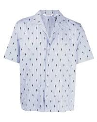 hellblaues vertikal gestreiftes Kurzarmhemd von Neil Barrett