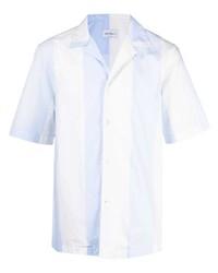 hellblaues vertikal gestreiftes Kurzarmhemd von Salvatore Ferragamo