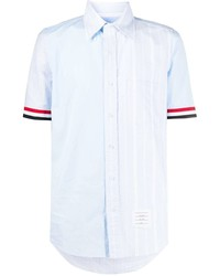 hellblaues vertikal gestreiftes Kurzarmhemd von Thom Browne