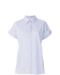 hellblaues vertikal gestreiftes Kurzarmhemd von Victoria Victoria Beckham