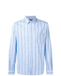 hellblaues vertikal gestreiftes Langarmhemd von A.P.C.