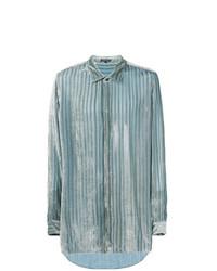 hellblaues vertikal gestreiftes Langarmhemd von Ann Demeulemeester