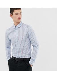 hellblaues vertikal gestreiftes Langarmhemd von ASOS DESIGN