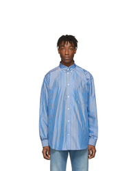hellblaues vertikal gestreiftes Langarmhemd von Balenciaga