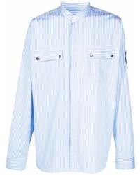 hellblaues vertikal gestreiftes Langarmhemd von Balmain