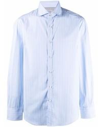 hellblaues vertikal gestreiftes Langarmhemd von Brunello Cucinelli