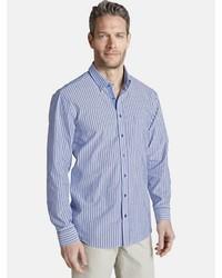 hellblaues vertikal gestreiftes Langarmhemd von Charles Colby