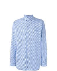 hellblaues vertikal gestreiftes Langarmhemd von Comme Des Garcons SHIRT