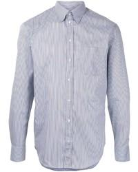 hellblaues vertikal gestreiftes Langarmhemd von Emporio Armani