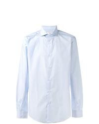 hellblaues vertikal gestreiftes Langarmhemd von Fashion Clinic Timeless