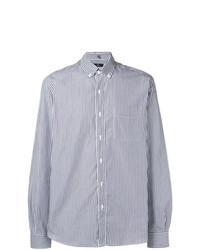 hellblaues vertikal gestreiftes Langarmhemd von Fay
