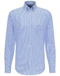 hellblaues vertikal gestreiftes Langarmhemd von Fynch Hatton