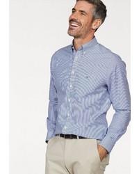 hellblaues vertikal gestreiftes Langarmhemd von Gant