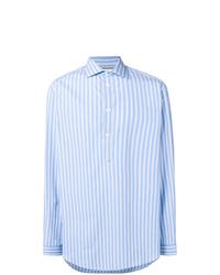 hellblaues vertikal gestreiftes Langarmhemd von Gucci