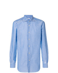 hellblaues vertikal gestreiftes Langarmhemd von Kiton