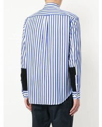 hellblaues vertikal gestreiftes Langarmhemd von Coohem