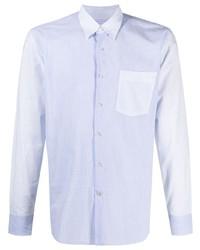 hellblaues vertikal gestreiftes Langarmhemd von Lanvin